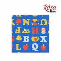 Фетр листовой (полиэстер), 21,5х28 см, принт, Буквы на синем, 180г/м2, ROSA Talent