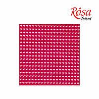 Фетр листовой (полиэстер), 21,5х28 см, принт, Сердца на розовом, 180г/м2, ROSA Talent