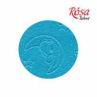 Фетр листовой (полиэстер), 21,5х28 см, эмбосинг, Голубой, Мишка на луне, 180г/м2, ROSA Talent