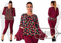 Выразительный женский костюм для пышных модниц (однотонные брюки и пиджак, блуза цветной принт) РАЗНЫЕ ЦВЕТА!