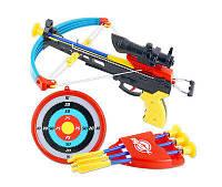 Арбалет игрушка, 3 стрелы 24 см с присосками, прицел, мишень