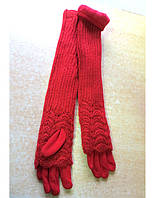 Длинные женские перчатки трикотаж, вязка (митенки), красные