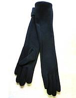 Длинные женские перчатки трикотаж/флис, черные