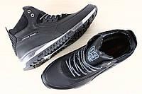 2402 Мужские зимние спортивные ботинки на шнурках, черные, на меху из натуральной кожи  размеры: 40-45 материа