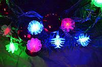Новогодняя гирлянда на елку из мерцающих  шишек
