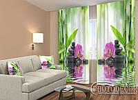 """ФотоШторы """"Орхидеи на солнце"""" 2,5м*2,0м (2 половинки по 1,0м), тесьма"""