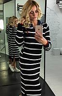 Теплое длинное полосатое платье c-9032216
