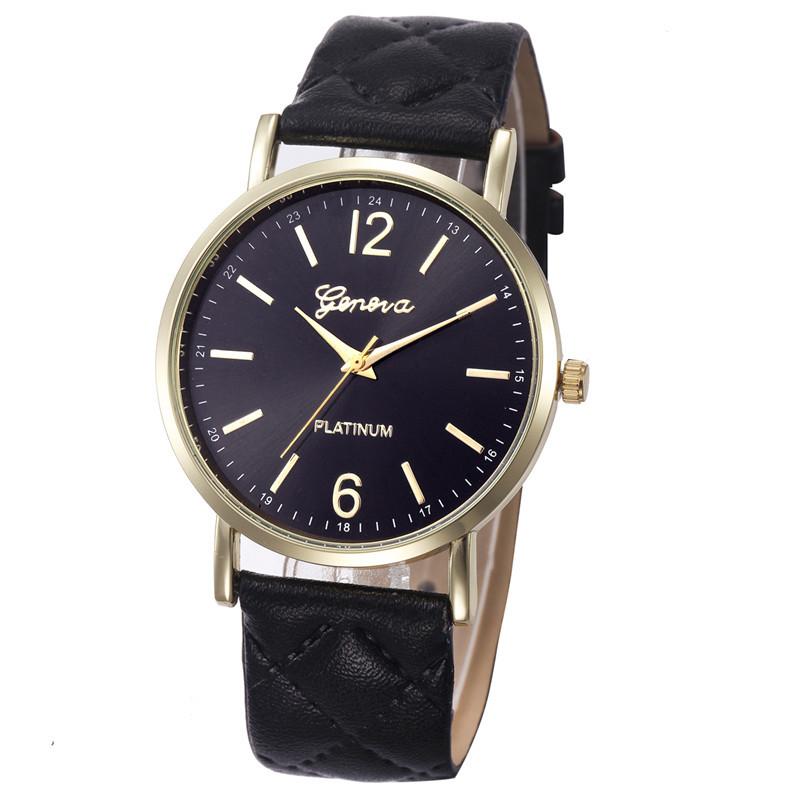 Женские часы Geneva с перламутровым циферблатом на ремешке из экокожи черные