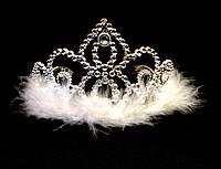 Корона снежной королевы, белый пух, высота 8 см, пластик