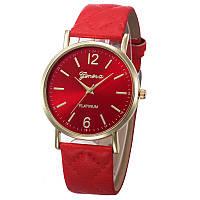 Женские часы Geneva с перламутровым циферблатом на ремешке из экокожи красные
