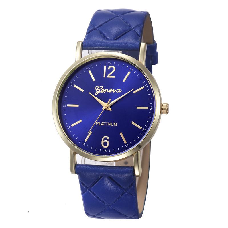 Женские часы Geneva с перламутровым циферблатом на ремешке из экокожи синие
