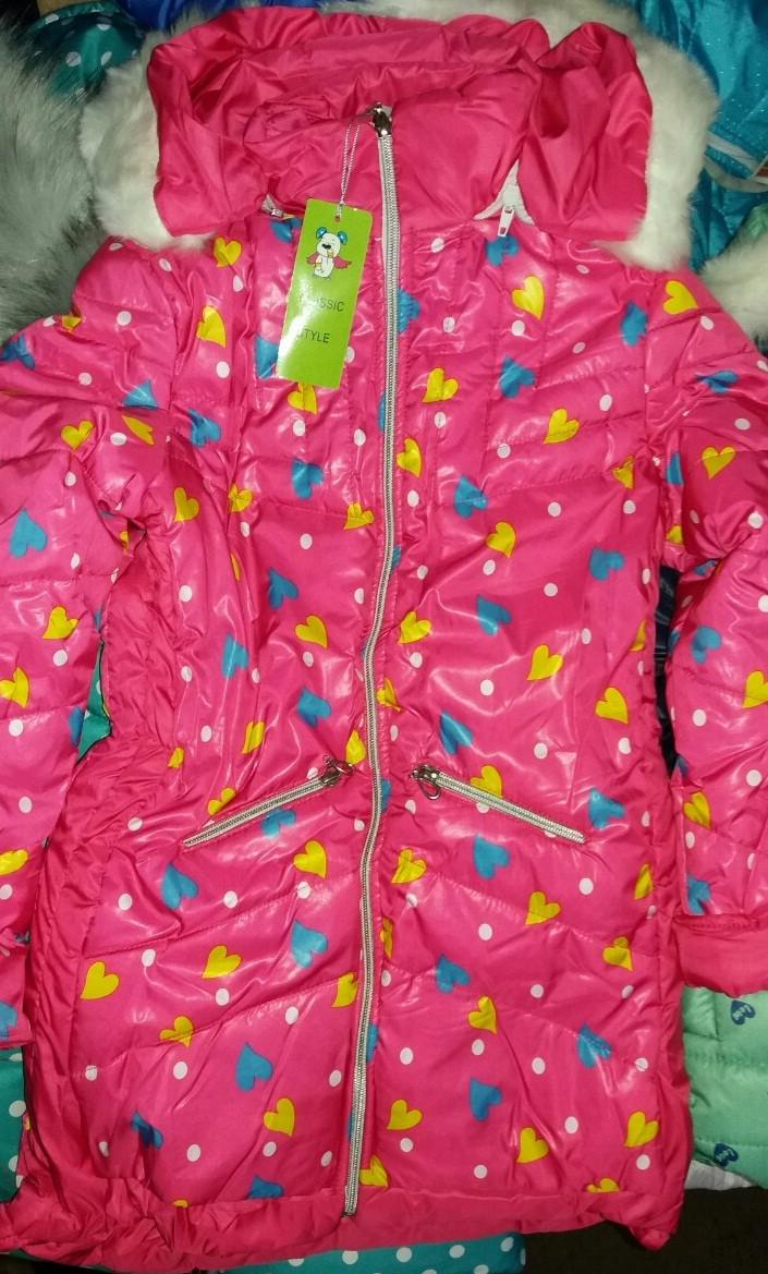 Зимняя куртка на овчине для девочки Сердечка (рр.122-140)