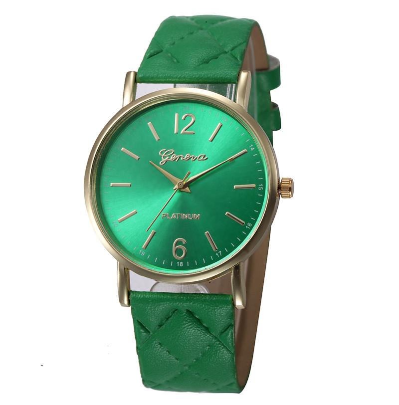 Женские часы Geneva с перламутровым циферблатом на ремешке из экокожи зеленые