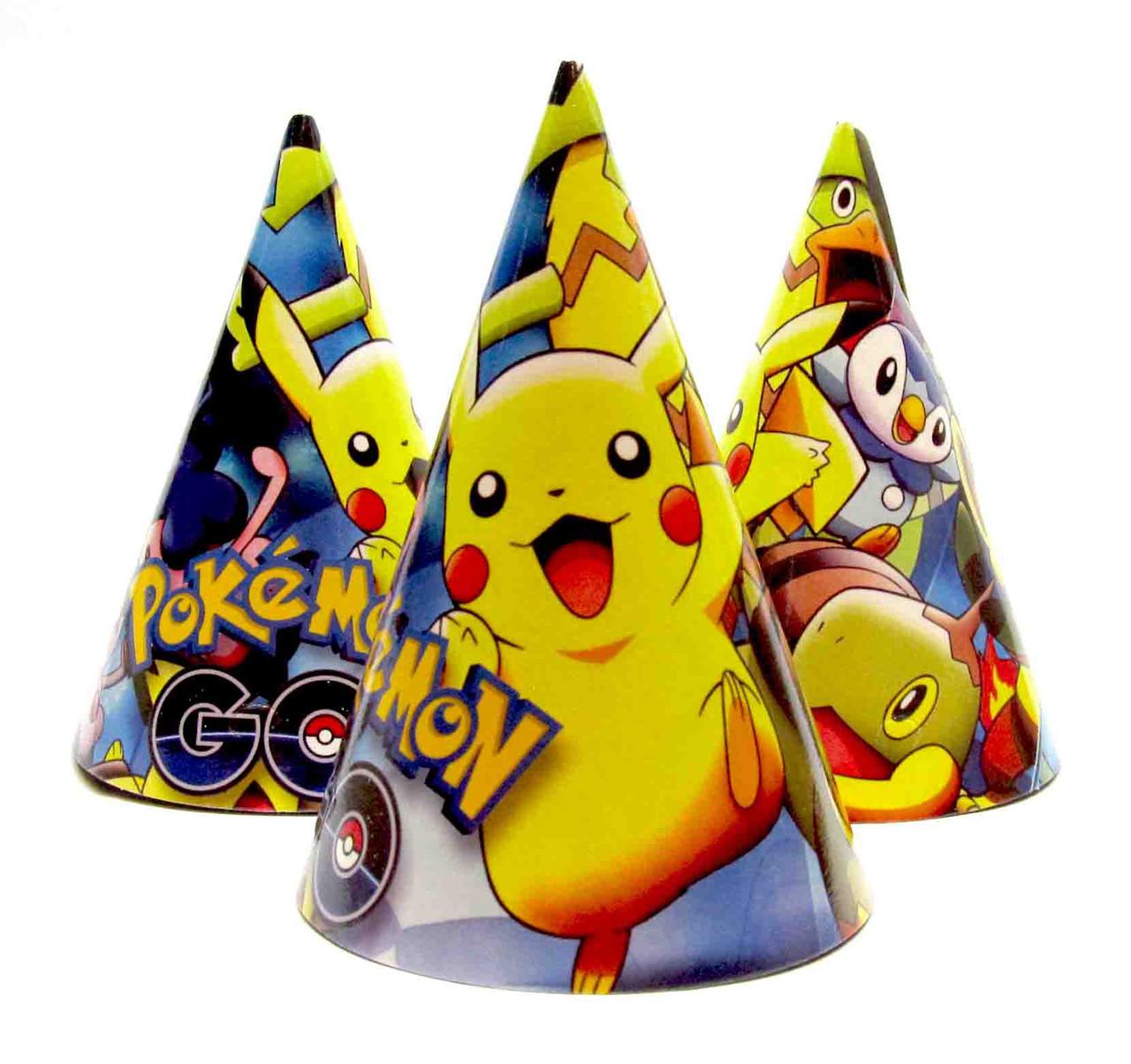 """Колпачки бумажные """"Pokemon"""". В упак: 10шт.  Размер: 16см."""