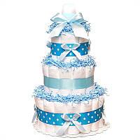 Трехъярусный торт из памперсов для мальчика Небесный Ангел