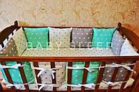 Бортики в кроватку, лоскутные одеялка, мягкие буквы, постельное белье для деток