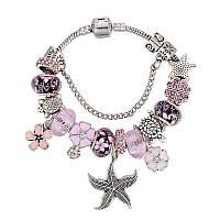 Браслетик с шармами пандора морская звезда розово-фиолетовый pandora люкс копия