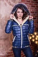 Синяя стильная женская зимняя теплая синтепоновая  куртка с меховой опушкой на капюшоне. Арт-659