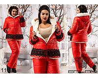 Женский зимний костюм на синтепоне большого размера, цвет красный (р.50-56)