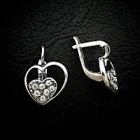Красивые серебряные серьги в виде сердца