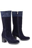 Кожаные женские сапоги цвет синий замш+питон