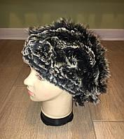 Женская меховая вязанная шапка