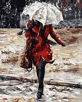 Картины по номерам 40×50 см. Девушка в красном пальто