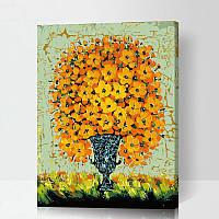 Картина раскраска по номерам без коробки Солнечный букет  40 х 50 см