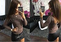 Модная женская трикотажная кофта (длинные рукава, открытая спина) РАЗНЫЕ ЦВЕТА!