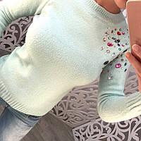 """Красивый, теплый, женский свитерок """"Машинная вязка, декорирован разноцветными камнями"""" РАЗНЫЕ ЦВЕТА"""