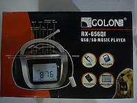 Приемник (Бумбокс)колонка караоке часы MP3 Golon RX 656QI черный красный
