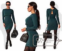 Эффектный женский костюм (трикотажное платье-майка и болеро, длинные рукава, глубокое декольте) РАЗНЫЕ ЦВЕТА!
