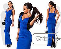 Эффектное вечернее платье-футляр +болеро (длина в пол, глубокое декольте, открытые плечи) РАЗНЫЕ ЦВЕТА!