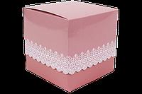 Подарочная упаковка для чашки с принтом (Ажур) Розовая