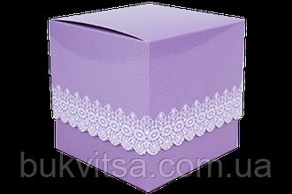 Подарочная упаковка для чашки с принтом (Ажур) фиолетовая, фото 2