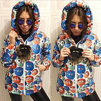 """Зимняя, очень модная, женская куртка """"FENDI"""" с принтом и меховой подвеской"""