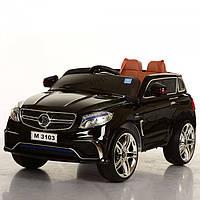 Детский электромобиль джип Mercedes M 3103(MP4) EBLR-2 черный, кожаное сиденье и MP4 планшет