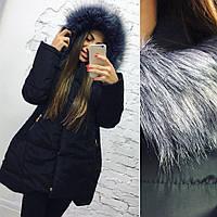 Куртка зима, Ткань : плотная плащевка , 200 синтепон мех чернобурка, черный , синий , бежевый роле№ 2030