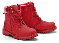 Модные красные ботинки для девушек размеры 38