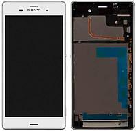 Дисплей для Sony D6633 Xperia Z3 Dual + touchscreen, белый, с передней панелью