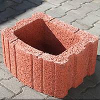 Цветочница бетонная квадратная 500х400 мм, красная