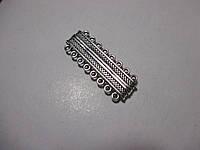 Застібка магніт 7 ниток,  литий метал, античне срібло