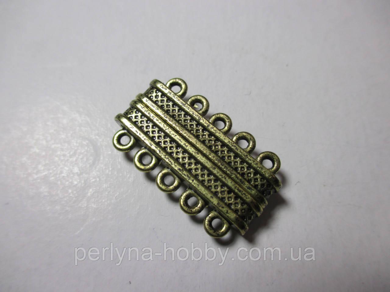 Застібка магніт 5 ниток,  литий метал, бронза