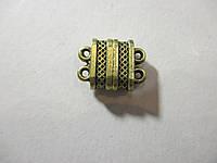Застібка магніт на 2 ниткии,  литий метал, антична бронза
