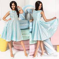 Платье Вечернее жаккардовое голубое