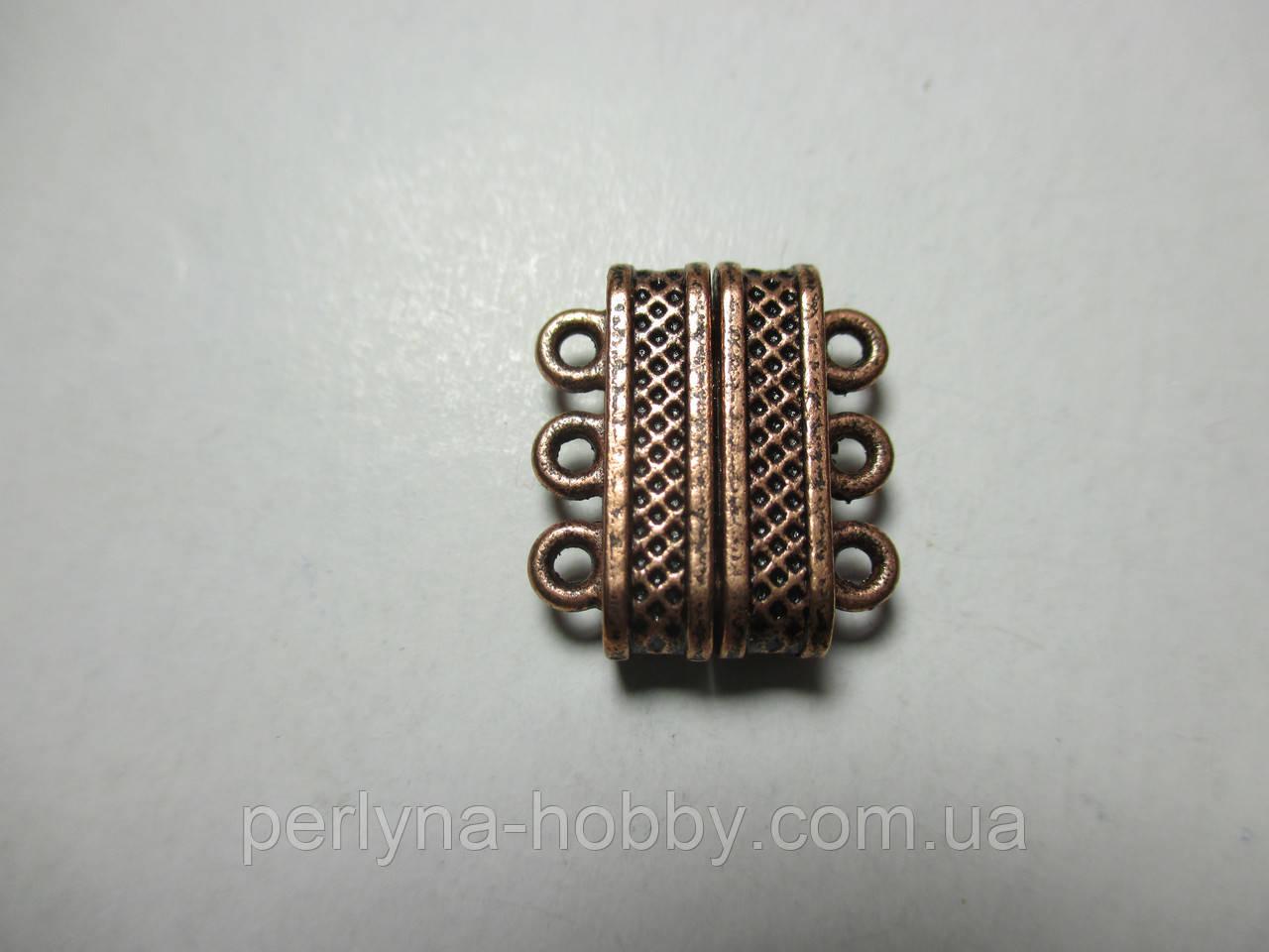 Застібка магні на 3  нитки,  литий метал, мідний
