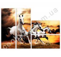 """Модульная картина """"Белые лошадки"""""""