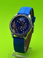 """Женские наручные часы на голубом кожаном ремешке """"Фея сирени"""""""