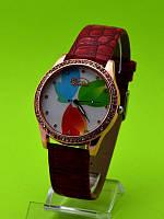 """Женские наручные часы на красном кожаном ремешке """"Весенние тюльпаны"""""""