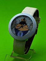 """Женские наручные часы на бежевом кожаном ремешке """"Цветочный винтаж"""""""
